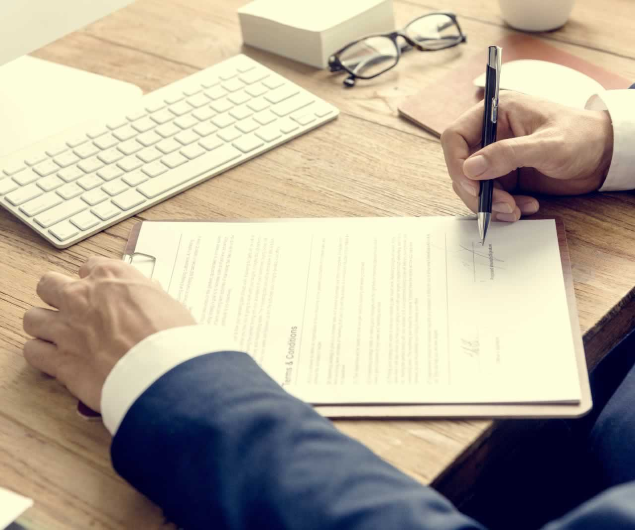 Business Man Signing Terms Conditions Concept